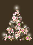 Retro pink christmas tree Stock Photo