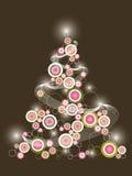 Retro pink christmas tree vector illustration