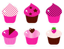 Retro pink cupcakes set Stock Image
