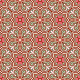 Retro pink flowers. Beautiful natural brown abstract retro pattern with pink flowers and green leaves Royalty Free Stock Image