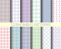 12 retro pink geometric rhombus  pattern 2. 12 rhombus patterns, Pattern Swatches, vector, Endless texture can be used for wallpaper, pattern fills, web page Royalty Free Stock Photos