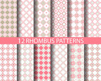 12 retro pink geometric rhombus  pattern 2. 12 sweet rhombus patterns, Pattern Swatches, vector, Endless texture can be used for wallpaper, pattern fills, web Stock Image