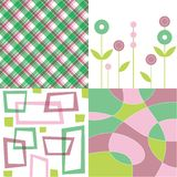 Retro pink and green plaid quad Royalty Free Stock Photo