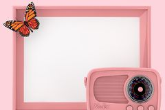 Retro Pink Radio in front of Empty Pink Photo Frame with Butterfly. 3d Rendering. Retro Pink Radio in front of Empty Pink Photo Frame with Butterfly on a pink royalty free stock image