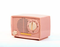 Retro Pink AM Radio. Pink retro am radio on white background royalty free stock images