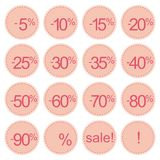 Retro pink sale icons, tag stickers or labels Stock Images