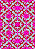 Retro pink wallpaper. Pink and burgundy seamless retro pattern on a silver blue background (wallpaper, wrap,  fabric, textile Stock Photography
