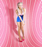 Retro Pinup Beauty On Psychedelic Background Royalty Free Stock Images