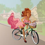 Retro pinup faceless girl, riding a bicycle, very sexy Stock Image