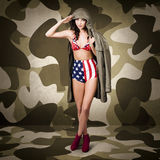 Retro pinup girl in American army lingerie Royalty Free Stock Photos