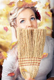 Retro Pinup Girl Doing Spring Clean Stock Image