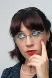 Retro Pinup Girl, Headshot, with eyeglasses (3) Royalty Free Stock Images
