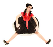 Retro. Pinup girl stylized like marionette Stock Image