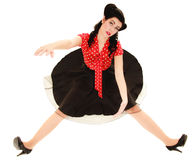Retro. Pinup girl stylized like marionette Stock Images