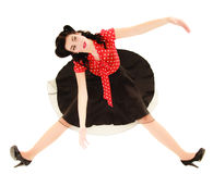 Retro. Pinup girl stylized like marionette Stock Photography