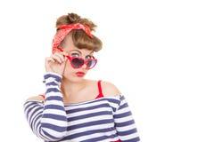 Retro pinup met zonnebril Stock Foto's