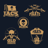 Retro piratical color logo, labels and badges. Vintage vector collection Royalty Free Stock Photography