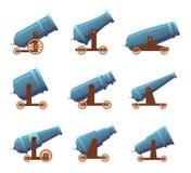 Retro pistole del cannone L'insieme medievale pesante del fumetto di vettore delle armi di lotta del pirata dell'artiglieria mili illustrazione di stock