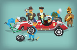 Retro pitstop workers chequing racing car. Colorful illustration with retro pit stop workers and engineers maintaning technical service for a racing car during a Royalty Free Stock Image