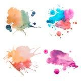 Retro pittura astratta d'annata variopinta dell'acquerello/acquerella arte della mano su fondo bianco Fotografie Stock