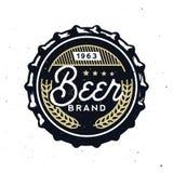 Retro piwna nakrętka w rocznika stylu Piwny oznakować ilustracja wektor