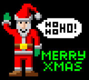 Retro pixel art Christmas Santa. Retro arcade 8-bit video game style pixel art Christmas Santa waving with Merry Xmas message Stock Photography