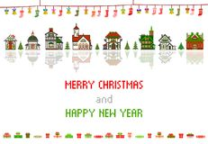 Retro Pixel Christmas Greeting Card With Houses, Socks and Bells Royalty Free Stock Photography