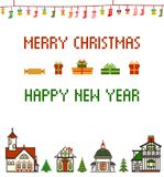 Retro Pixel Christmas Greeting Card With Houses, Socks and Bells Stock Photo