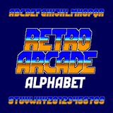 Retro pixel computer game alphabet font. Digital gradient oblique letters and numbers. 80`s arcade video game typography Stock Photos