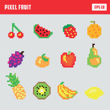 Retro pixel fruit, game icon set. With various kinds of fruit Royalty Free Stock Image