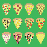 Retro pixel pizza slices in vector Stock Photography