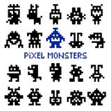 Retro pixel space monsters. And video game alien invaders vector illustration Stock Photos