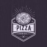 Retro pizzeria logo design. Vintage pizza emblem. Hipster badge style. Retro pizza logo for a pizzeria fast food store royalty free illustration