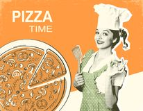 Retro pizza poster on old paper background for text. Retro pizza poster with smiling woman chef and pizza on old paper background for text Stock Photo