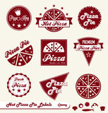 Retro Pizza Shop Labels and Stickers Royalty Free Stock Image
