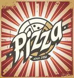 Retro pizza sign, poster, template or pizza box design Royalty Free Stock Photo