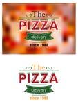 Retro- Pizzaaufkleber oder -fahne Stockfoto
