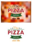 Retro pizzaetiket of banner Stock Foto