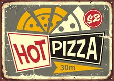 Retro pizzeria sign with hot pizza. And old fashion style typography. Restaurant poster design for Italian cuisine. Food graphic royalty free illustration