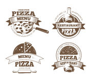 Retro pizzeria vector labels, logos, badges, emblems with pizza icons Royalty Free Stock Images