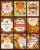 Retro- Plakat der Herbstsaisonnatur und Fahnensatz vektor abbildung