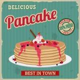 Retro- Plakat des Pfannkuchens Lizenzfreies Stockbild