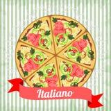 Retro- Plakat mit italienischer Pizza Stockfotos