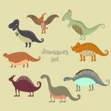Retro- Plakat mit lustigen Dinosauriern des Satzes in der Karikatur Kann für Tapeten, Musterfüllen, Webseitenhintergründe, Oberfl Stockbild