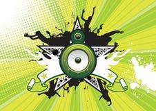 Retro- Plakat mit Stern und Lautsprecher Stockfotos