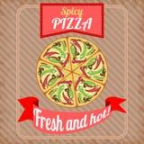 Retro- Plakat mit würziger Pizza Lizenzfreie Stockbilder