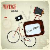 Retro- Plakat - Weinlesematerial auf grunge Hintergrund Lizenzfreies Stockbild