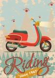 Retro- Plakatdesign mit Weinleseroller Lizenzfreie Stockfotos