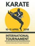 Retro- Plakateinladung an kämpfender Meisterschaft des Karate stock abbildung