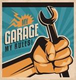 Retro plakatowy projekt dla auto mechanika Fotografia Stock